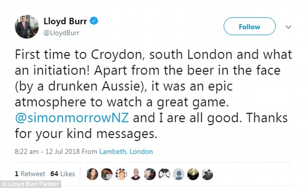 'First time to Croydon, south London, and what an initiation!' Burr wrote on his Twitter account on Thursday morning (pictured)