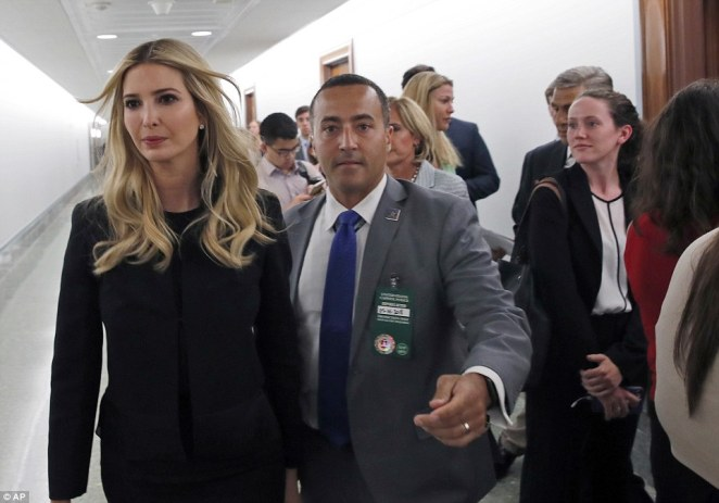 Earlier on Wednesday, Ivanka was in Capitol Hill to attenda Commerce Committee hearing on paid family leave