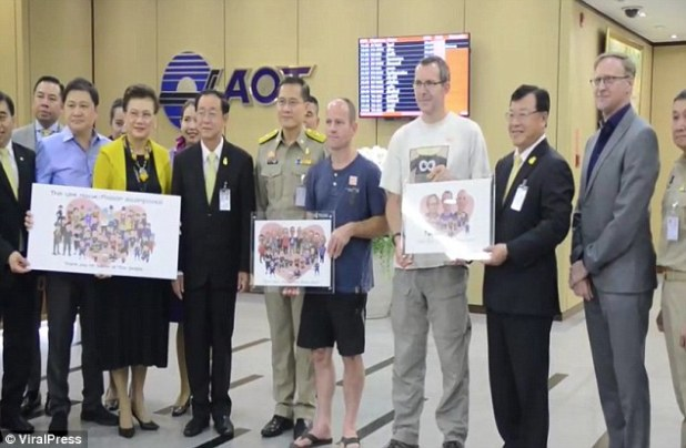 Friends of the nation: Mr Mallinson, from Huddersfield and Mr Volanthen, from Bristol, who helped rescue the 12 Thai cave boys have been awarded free travel to the Asian nation - for life