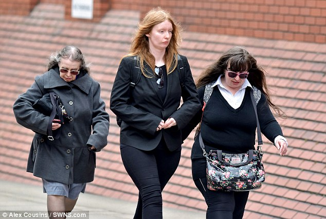 (L-R) Denise Cranston, Abigail Burling and Dawn Cranston arrive at Leeds Crown Court. The trio were bailed until sentencing today