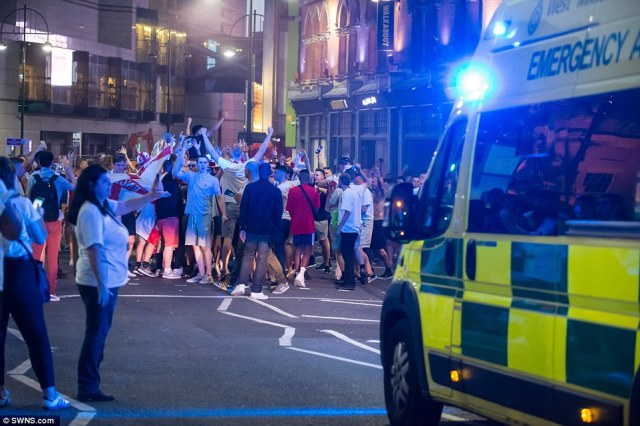 """An ambulance spokesman wrote on Twitter: """"Come on West Midlands, show some dignity & respect towards each other! """"Look how our 999 calls have rocketed after the final whistle with numerous assaults & fights reported. """"Our England team have been gracious in defeat, fans should be too respect'"""