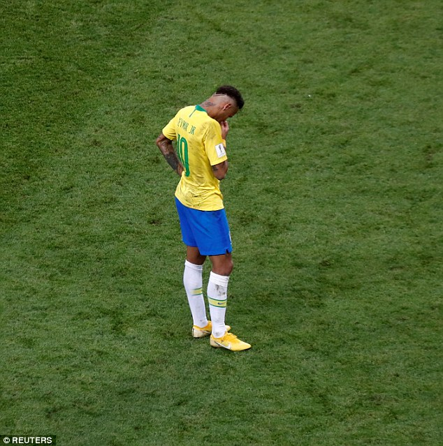 Neymar was dejected after Brazil were knocked out by Belgium in the World Cup quarter-finals