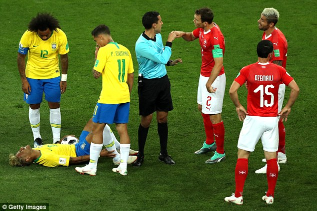 Neymar on the floor during Brazil's World Cup campaign became a familiar sight