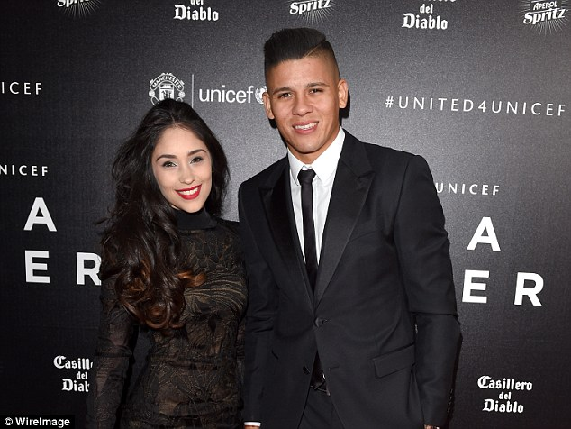 Rojo poses with wife Lusardo at a UNICEF event, the pair now have two daughters together