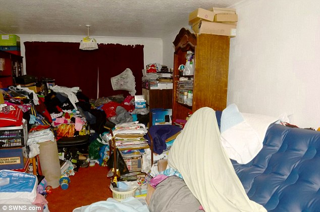 The cluttered home where Jordan Burling was found dead. A judge has said there was plenty of food in the home where the boy died