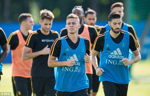 Thorgan Hazard (C) could get a start for Belgium if Roberto Martinez rotates squad again