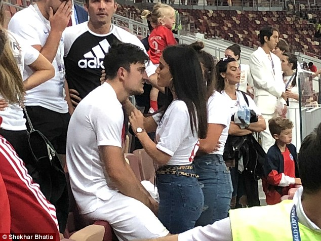 Last night Fern was seen comforting England ace Harry Maguire following the team's loss
