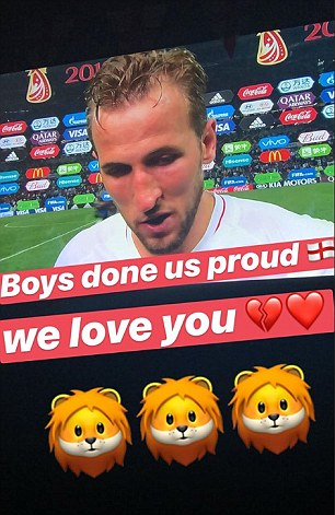 Kate Goodland, who is expecting her second child with England captain Harry Kane posted a touching Instagram story saying 'Boys done us proud [sic]' in the minutes after the match on Wednesday
