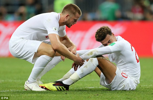 Dier tried to comfort his team-mate and friend following the 2-1 defeat by Croatia in Moscow