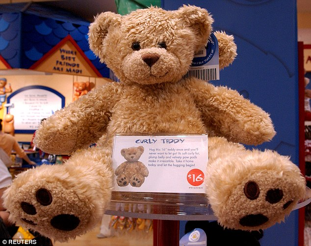 The average cost for a basic Build-A-Bear toy starts within the $15-$25 range; This file photo from July 1, 2005, shows a sample bear that customers can create at the Build-A-Bear store on 5th Avenue in New York