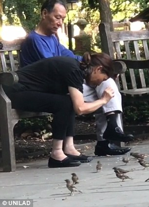 Videos posted to Instagram on Wednesday show the woman capturing what appear to be sparrows as she and a man sit on a bench in a historic square near Philadelphia¿s Independence Hall