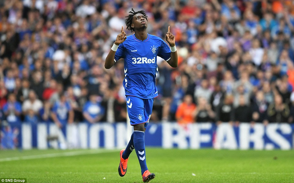 Liverpool loanee Oviemuno Ejaria points to the skies after coming on as a substitute to make his Rangers debut