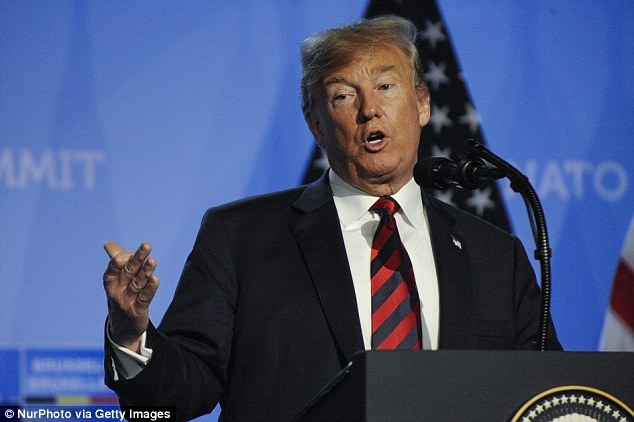 US president Donald Trump is seen during his press conference at the 2018 NATO Summit in Brussels, Belgium on July 12, 2018