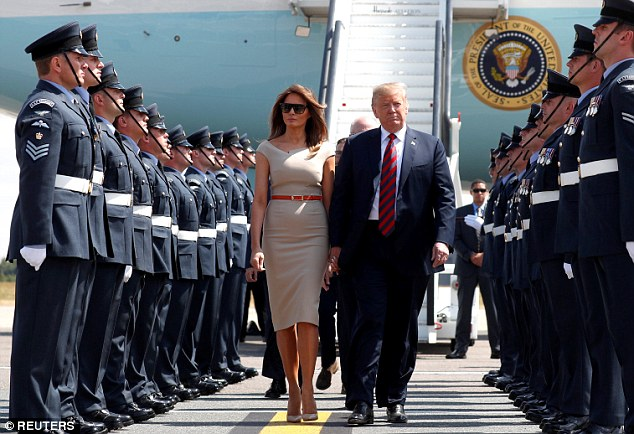 US President Donald Trump and First Lady Melania were given a guard of honour by the RAF after arriving in the UK today