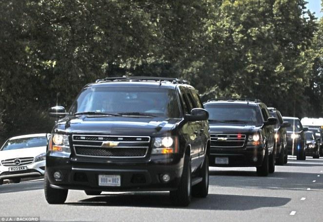 Donald Trump's motorcade speeds through Regent's Park led by elite British police from Scotland Yard
