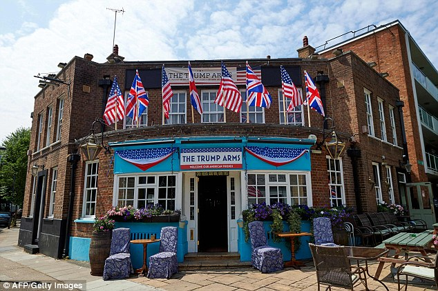 The exterior of The Trump Arms public house in west London, formally named The Jameson, which has embraced the arrival of US President Donald Trump. Damien Smyth, from County Antrim in Northern Ireland, runs the establishment. He told the i newspaper: ¿America is our biggest ally. They¿re our best friends in the world. They¿d be the ones here first if something went wrong ¿ not Germany, not France. I think these people protesting his visit are rude and insulting¿