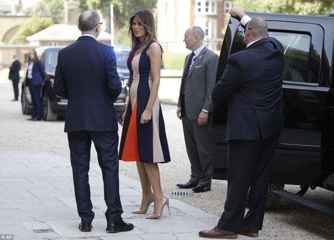 The First Lady was greeted by Mr May as she arrived at the hospital on Friday morning