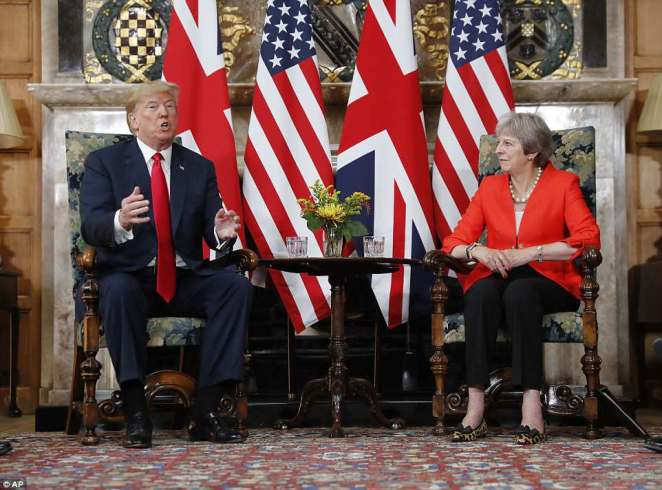 Donald Trump hailed the Special Relationship alongside Theresa May today despite his extraordinary outburst on Brexit