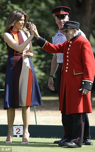 First Lady Melania is getting a tour of London with Philip May today starting at the Royal Hospital Chelsea where she metthe veteran pensioners and local children before having a game of bowls, which she appeared to really enjoy