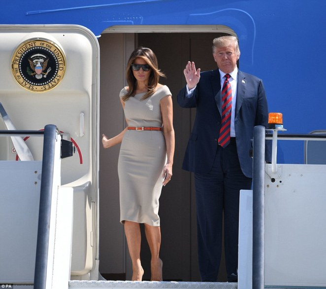 President Trump and Melania walked from Air Force One as they landed at Stansted Airport yesterday in a 24 hours where he intervened on Brexit