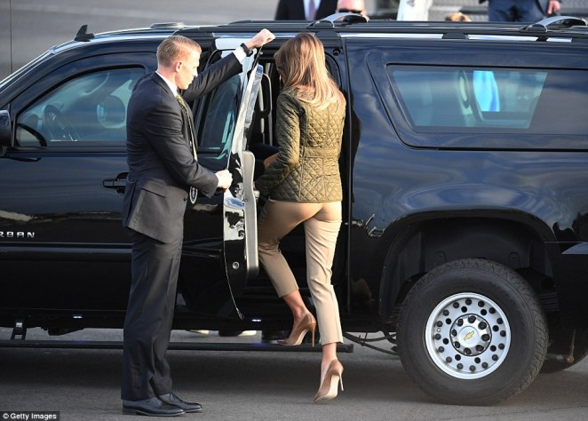 And we're off: The Trumps were escorted from the tarmac to an awaiting SUV