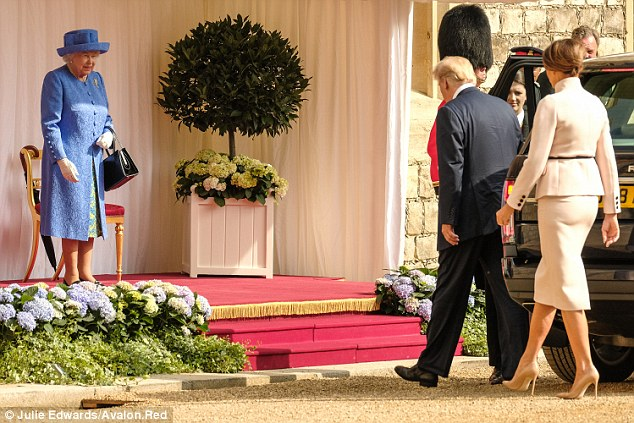 The Queen meets the President of the United States of America and Mrs Trump on Friday 13 July 2018 at Windsor Castle, Windsor