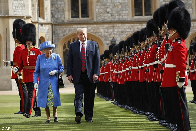 U.S. President Donald Trump with Queen Elizabeth II, inspects the Guard of Honour at Windsor Castle in Windsor