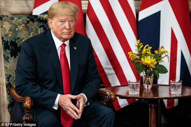 Donald Trump (pictured) will leave Britain this weekend for a meeting with Mr Putin in Helsinki