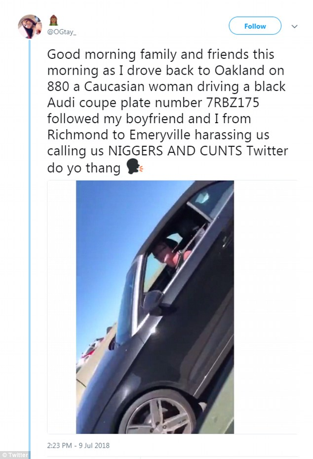 Marshuante Farris and boyfriend Shamiek Sheppard were driving to Oakland when a white woman violently swerved into their lane and launched a racist rant at them, pictured above