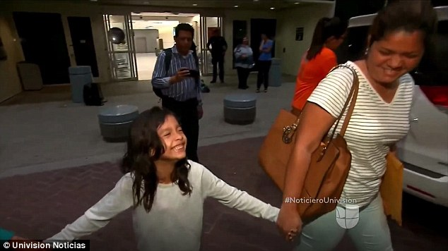 Six-year-oldAllison Madrid (left) was separated from her mother Cindy (right) for about a month when they tried to cross the border from El Salvador. On Friday, they were reunited