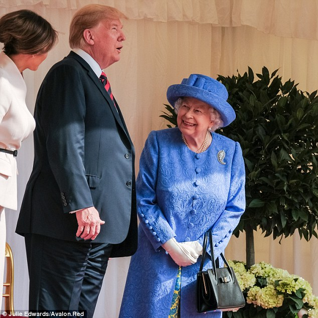 The Queen meets the President of the United States of America and Mrs Trump