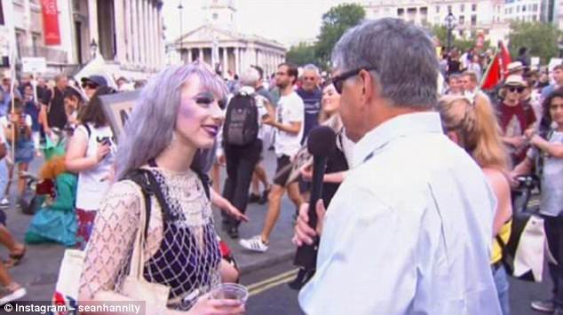 Hannity interviewed another protester who took to the streets of London on Friday