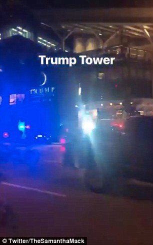 Police cars could be seen outside of Trump's hotel, while guests were also led away from the building