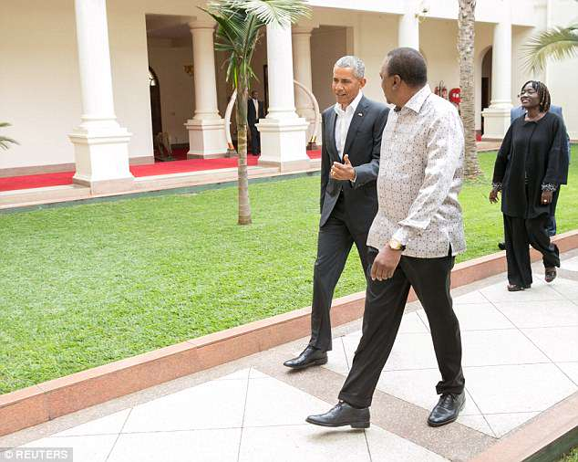 Barack's visit to Kenya is low key, unlike his previous visits where he electrified thousands of Kenyans who lined the streets to see him when he was a senator in 2006 and then as president in 2015. He's pictured with his sister and President Kenyatta