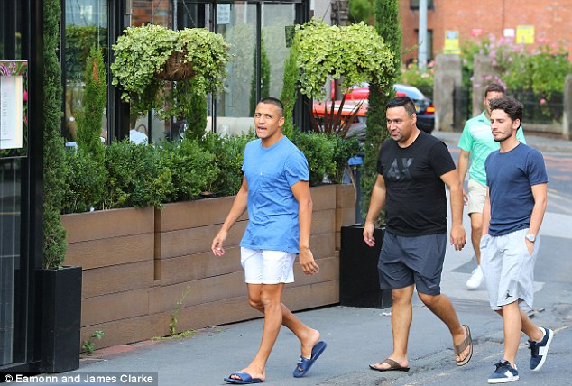 Chilean Sanchez was spotted with friends in Cheshire as they leftCibo Restaurant in Wilmslow