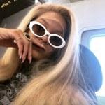 Rihanna show off long blonde wig
