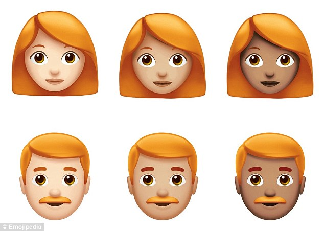 Ginger emoji are making their way to the iPhone for the first time. The red-headed characters (pictured) were announced today as part of a batch of 70 new emoji unveiled by Apple to celebrate World Emoji Day