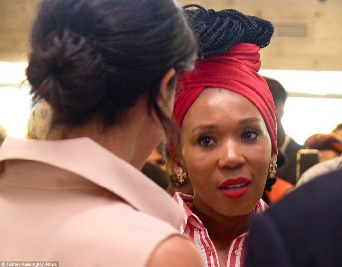 Meghan talks to Ms Dlamini-Mandela at the exhibition in the Southbank Centre in London today