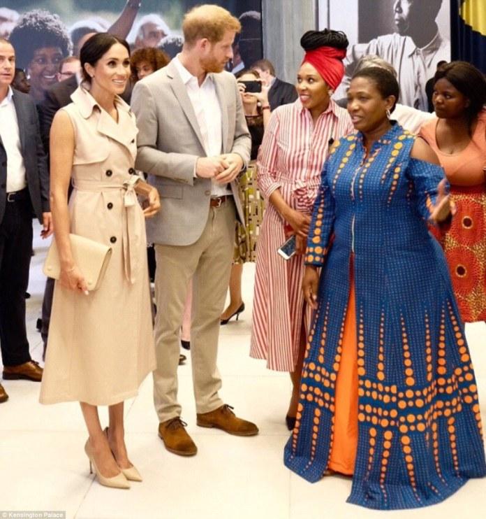 The Duke and Duchess of Sussex meet Nelson Mandela¿s granddaughter Zamaswazi Dlamini-Mandela (right, in red) today