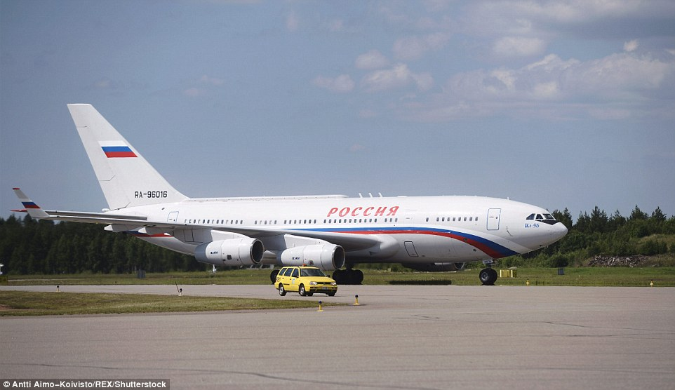 Putin will have travelled from the Kremlin to Helsinki to the summit with Donald Trump in style on board one of his £390million IL-96-300PU planes, pictured in Finland in 2013