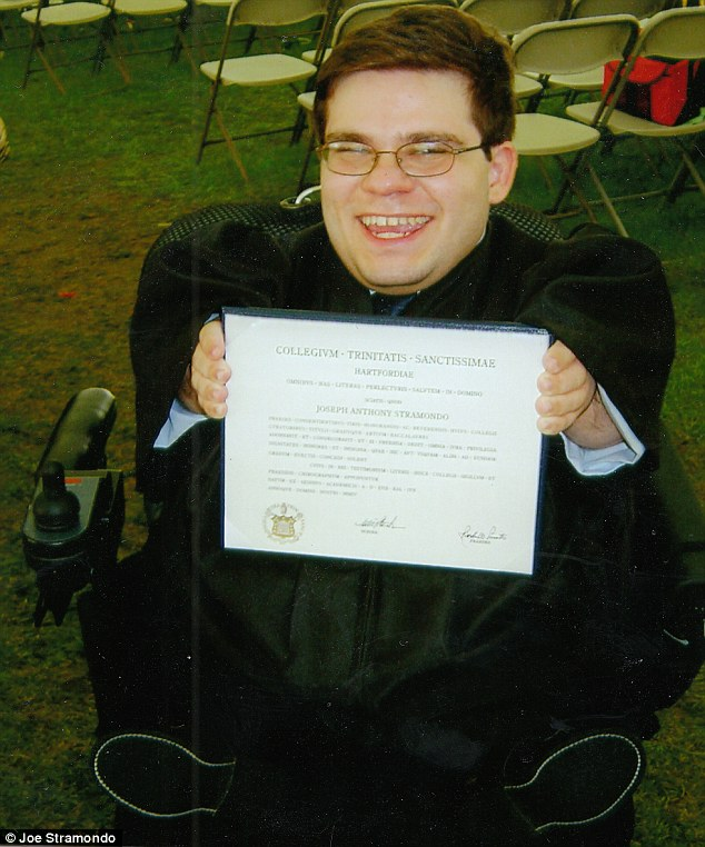 Joe, pictured with his diploma, pursued a career in higher education and now teaches at San Diego State University; his sense of humor, wit and deep love for his wife shine through in Far From the Tree