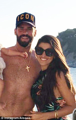Brazilian goalkeeper Alisson shortens his holiday in Sardinia with his wife