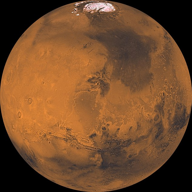 The rover is due to land on Mars (pictured) in March 2021 and will use solar panels to generate electrical power, surviving the cold martian nights with novel batteries and heater units