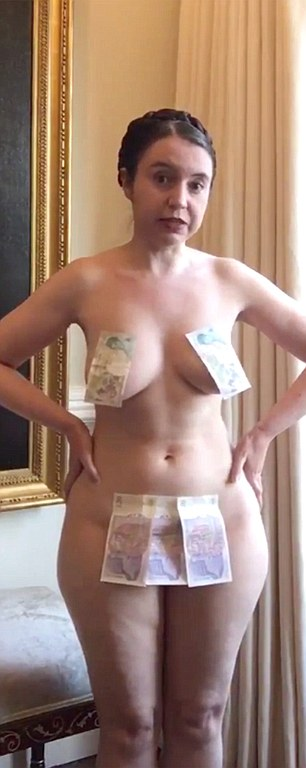 Exhibitonist university lecturer Dr Victoria Bateman posing nude with pound notes covering her modesty