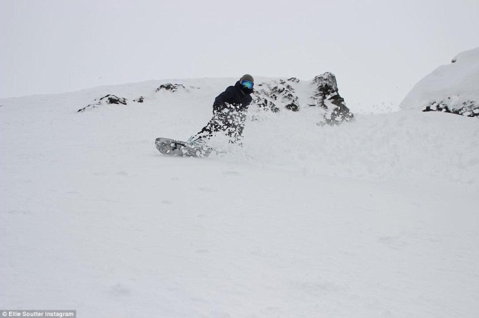 Ellie in action: The teenage snowboarder impressed the snowboarding world and was tipped for stardom