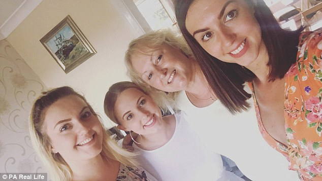 Nicole's theatre nurse mum, Stephanie Darnell, 57 - who had battled breast cancer twice – and her sisters Jess Darnell, 21, and Louise Dalling, 28, who work with her, were all diagnosed with the gene too( L-R: Jess, Louise, mum Stephanie and Nicole)