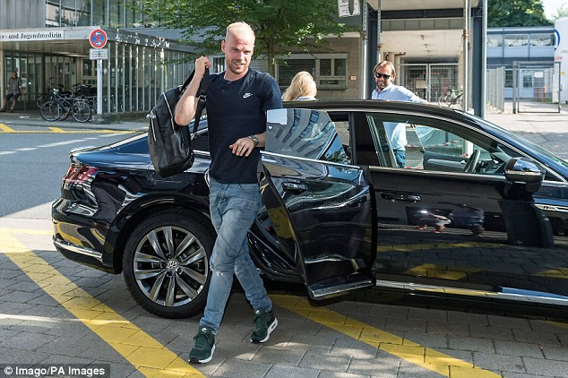 Klaassen is seen arriving in Bremen for his medical before securing his move to the club