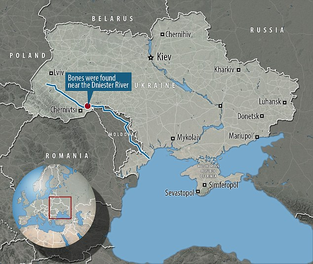 The rare burial was found along the river Dniester in Ukraine and experts believe the markings were made after the woman's body had decomposed