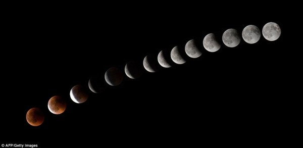 The progression of the Blood Moon is pictured as seen above La Puente on the Spanish island of Tenerife, Canary Islands