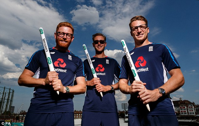 Jonny Bairstow (left), Broad and Buttler pictured during a Specsavers photoshoot
